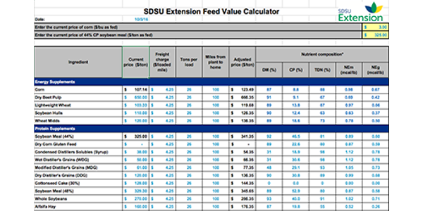 SDSU Extension has developed a feed value calculator to compare protein and energy supplement options. (SDSU Extension)