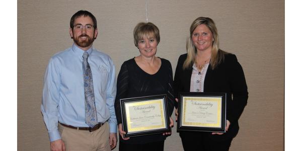 Mark Jensen, WCDI President; Rhonda Seibert, NICC Provost; and Megan Kregel, Dairy Center Coordinator. (Courtesy of Northeast Iowa Community-Based Dairy Foundation)