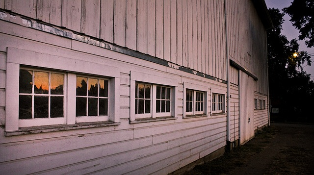 A Tie-Stall Barn at Night