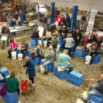 George VanHoutte's farm shop turns into a kraut-making floor. (MSU Extension)