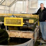 Martin Gross, left, and Zhiyou Wen developed this algae reactor at the BioCentury Research Farm. (Courtesy of ISU)