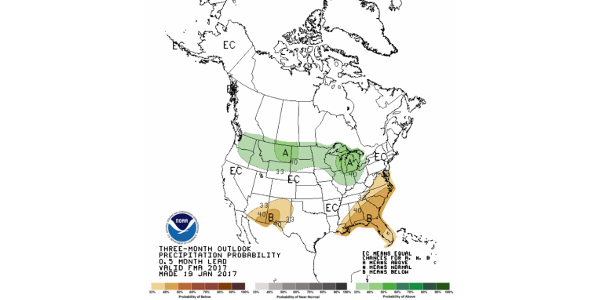 Precipitation outlook for February through April 2017. Most of South Dakota is favored to be wetter than average in the late winter/early spring, with the exception of the southeast. (SDSU Extension)