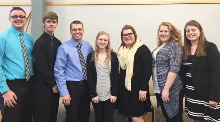 WIU students who competed in the Illinois State Post-Secondary Agriculture Student Organization (PAS) conference Feb. 10 in Bloomington include, from left, Logan Runyen, Brandon Livingiston, Martin Nall, Morgan Lemley, Cori Sargent, Mariana Roberts and Kylee Johnston. (Courtesy of WIU)