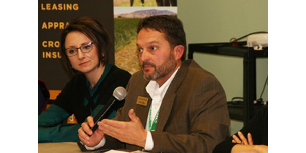 Colorado Corn staff members Mark Sponsler, Melissa Walter and Eric Brown had the pleasure of joining the Colorado Livestock Association staff at the panelists' table last week, along with dietitian Mary Lee Chin, for dialogue covering the most timely issues in agriculture. (Colorado Corn)