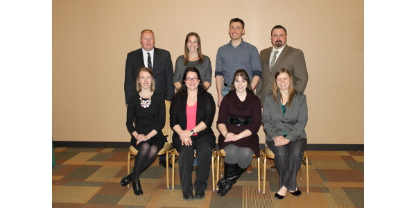 The Minnesota Farm Bureau Federation (MFBF) Young Farmers and Ranchers (YF&R) Discussion Meet was held during the Leadership Conference at the Sanford Convention Center in Bemidji on February 4. The eight semi-finalists who competed and were selected are pictured front row, left to right, Megan Roberts from Blue Earth County, DiDi Edwards from Nobles County, and Katie Winslow and Amanda Carlson from Goodhue County. Back row, left to right, Carl Sackreiter from Winona County, Angela Guentzel from LeSueur County, Kirby Schmidt from Itasca County and Nathan Roth from Wadena County. The semi-finalists will compete in the final two rounds of competition at the MFBF Annual Meeting in November. (Courtesy of Minnesota Farm Bureau)