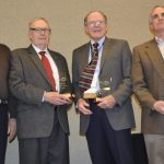 """From left to right: Lee Jarvis of Utah, Bob Benson of Indiana, Dr. Dave Notter of Virginia and Robert S. """"Bobby"""" Frank of Livestock Weekly in Texas. (Courtesy of American Sheep Industry Association)"""