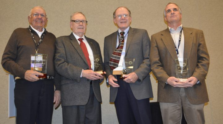 "From left to right: Lee Jarvis of Utah, Bob Benson of Indiana, Dr. Dave Notter of Virginia and Robert S. ""Bobby"" Frank of Livestock Weekly in Texas. (Courtesy of American Sheep Industry Association)"