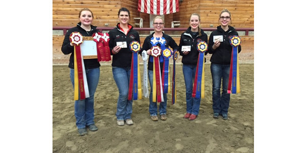 L-R: UW-River Falls western equestrian team members Danielle Paulson, Mikayla Mack, Autumn Kappers, Ashley Gapinski, Rachel Shamro have earned the right to compete at IHSA semi-finals March 24-25. (Courtesy of UW-River Falls)
