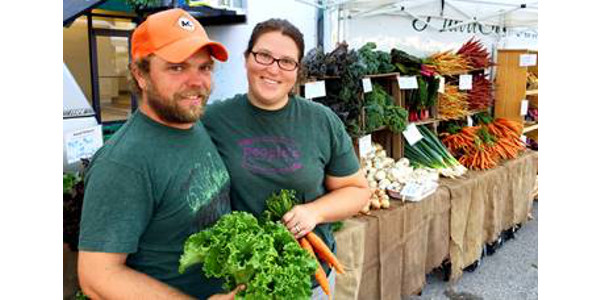 Hans and Katie Bishop sell organic vegetables at the Downtown Bloomington Farmers' Market. The couple also sells through grocery stores and restaurants like Hy-Vee and The Common Ground in Bloomington, Food Fantasies in Springfield, Common Ground Co-op in Urbana, Harvest Cafe in Delavan, The Garlic Press in Normal, Prairie Fruits Farm in Champaign, and Local Foods in Chicago. (Courtesy of MOSES)