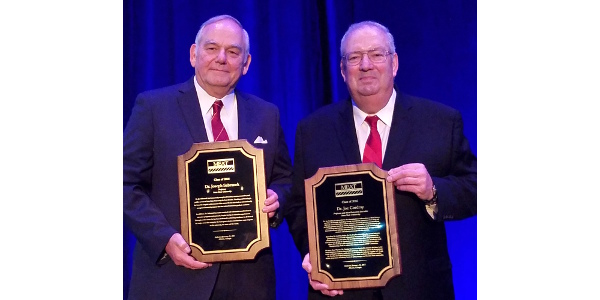 Iowa State professors of animal science Joe Sebranek (left) and Joe Cordray (right) were inducted into the Meat Industry Hall of Fame Jan. 31 at a ceremony in Atlanta, Georgia. (Courtesy of Iowa State University)