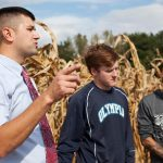 Program coordinator Willard Mott, left, instructs IVCC ag students at a field near campus last fall. Mott is coordinating IVCC's first Agriculture Open House April 6. (Courtesy of IVCC)