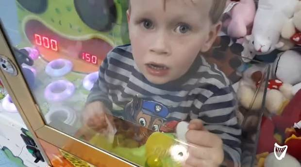 Boy gets trapped in a toy machine
