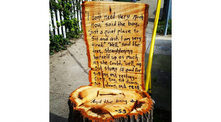 Stump turned into tribute to the Giving Tree