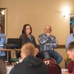 Heidi Johnson from UW-Extension Dane County moderated a panel discussion about the Economics, innovations and best practices of planting cover crops. Panelists L to R Jamie Patton, UW-Extension Shawano County, Nick Viney, Badgerland Grain Farms LLC, Damon Reabe, Reabe Spraying Service. (Courtesy of Yahara Pride Farms)