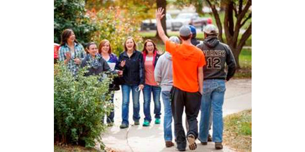 NCTA students greet visitors for campus tours and Discovery Days. (Chandler/ University Communication)