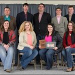 The NCTA Livestock Judging Team competed at the 2017 Nebraska Cattleman's Classic in Kearney. Back row, from left, are Assistant Coach Wade Vallery, Braden Wilke, Dean Fleer, Nathan Lashley, Max Melvin, Sam Seberger and Coach Doug Smith. Front row, from left, are Assistant Coach Bailey Hinrichs, Eleanor Aufdenkamp, Emily Vales and Katherine Schudel. (Legacy Livestock Imaging Photo)
