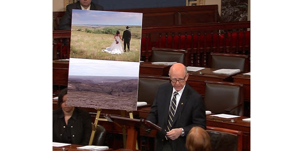 """U.S. Senator Pat Roberts (R-Kan.), Chairman of the Senate Agriculture Committee, today took the Senate floor to speak on the """"historical and unprecedented wildfires"""" that struck southwest Kansas last week. (Courtesy of Office of U.S. Senator Pat Roberts)"""