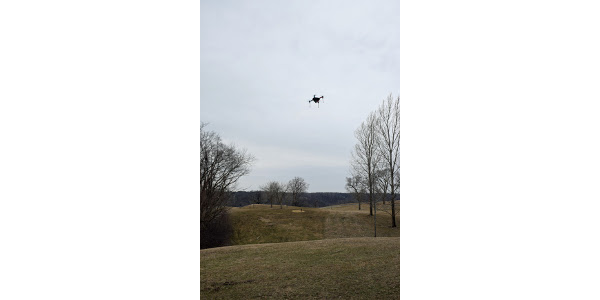 A drone takes off to survey for Oriental bittersweet at Memorial Park in Red Wing. (Courtesy of Minnesota Department of Agriculture)