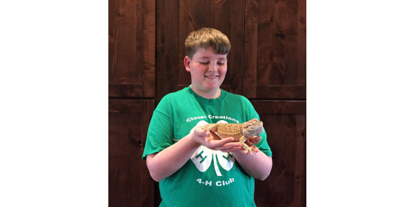 4-H member, Cian McMillin showed his bearded dragon, Apollo in the new companion animal project area during the 2016 Sioux Empire Fair held in Sioux Falls. (Courtesy of SDSU Extension)