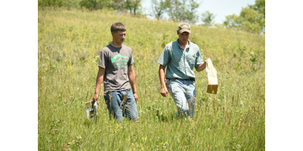 Avery Gilchrist (left) and Sheldon Mack learned about plant diversity during the 2016 SDSU Natural Resource Camp. (Courtesy of SDSU College of Agriculture and Biological Sciences)