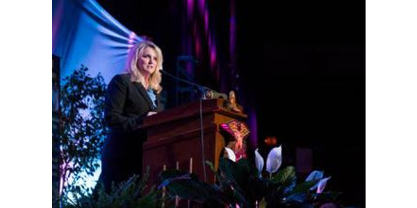 """The theme """"Embrace Change, Respect Tradition"""" set the tone for the 89th Missouri FFA Convention. Director of Agriculture Chris Chinn took the stage during the opening session of the convention. (Courtesy of Missouri Department of Agriculture)"""