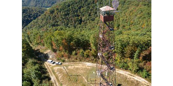 Aerial view of the fire tower in UK Robinson Forest. (PHOTO: Matt Barton)