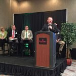 NDFU President Mark Watne speaks during a panel discussion about the 2018 Farm Bill at the Center for Agricultural Policy and Trade Studies' conference on farm policy April 12 in Fargo. (Courtesy of NDFU)