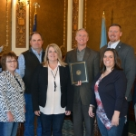(left to right) Wayne Tupper, president, South Dakota Beef Industry Council (SDBIC); Teri Heninger, finance officer SDBIC; Eric Sumption, vice president SDBIC; Suzanne Geppert, executive director SDBIC; Gov. Dennis Daugaard; Hunter Roberts, policy advisor to the governor; Jodie Hickman-Anderson, executive director South Dakota Cattlemen's Association; Mike Jaspers, South Dakota Secretary of Agriculture. Not pictured: Silvia Christen, executive director, South Dakota Stockgrowers Association. (Courtesy of South Dakota Department of Agriculture)