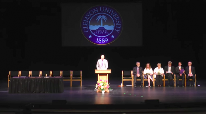 Clemson University President James P. Clements praised faculty and staff for a successful year at the semester-ending General Faculty Meeting Tuesday. Screenshot of ClemsonUniversity Live Stream.