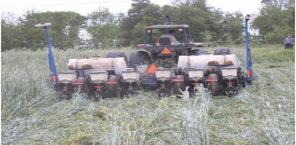 The Alamance Conservation District's Field Day will highlight cover crop termination and planting into cover crops. (Photo courtesy of NC Alamance Soil and Water Conservation District)