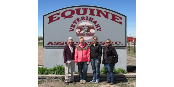 Nebraska College of Technical Agriculture Professor Ricky Sue Barnes Wach, DVM, visited Grand Island with students (from left) Carli Johnson of Hastings, Rachel Schmitz of O`Neill and Sarah Waltemath of Elm Creek. The students are in NCTA's Veterinary Technology program. (Courtesy photo)
