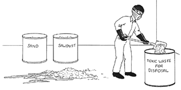 Figure 2. Absorbent material is an important part of a spill kit (Photo: CropwatchUN-L Institute of Agriculture and Natural Resources)
