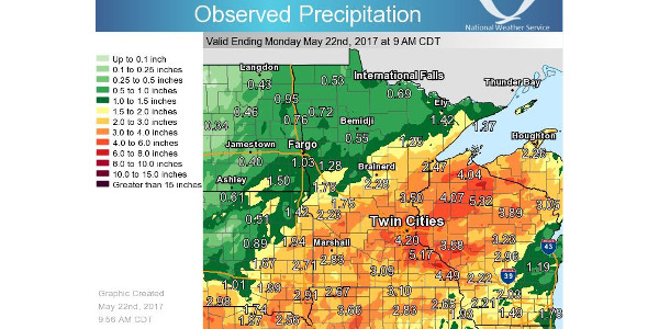 Figure 1. Cumulative rainfall over 7-day period ending May 22, 2017 in the upper Midwest. (Source: National Weather Service)