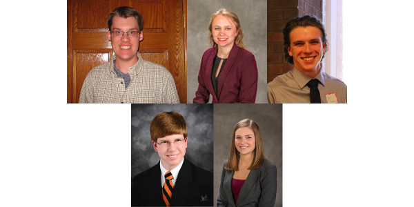 Michael Bernard, Sarah Dintelman, Matthew Reuss, Matthew Runyon and Kelsey Smith have been selected to receive scholarships for the 2017-18 school year. (Photos provided by students)