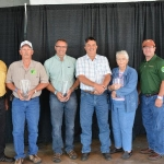 Each year, South Dakota Farmers Union recognizes individuals who give back to their communities with the Rural Dakota Pride Award. During Farmers Union Day at the South Dakota State Fair. 2016 Rural Dakota Pride Honorees pictured here with SDFU Vice President, Wayne Soren (far left) and SDFU President, Doug Sombke (far right) Left to Right: Doug Edwards, South Hand County; Bryan Breitling, Miller; Tim Pravecek, Winner and Sharon Wilson, Black Hawk. (Courtesy photo)