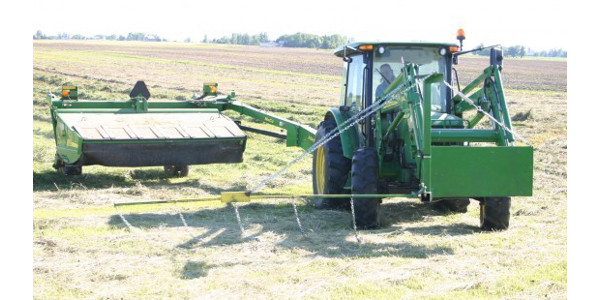 Figure 2. Flushing bar mounted on a front-end loader. (Credit: Pheasants Forever)