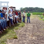 WIU Agronomy, Crop Science and Weed Control Associate Professor Mark Bernards (far right) will lead a guided tour that will showcase weed-management research trials at the WIU School of Agriculture's 2017 Agronomy Field Day, which is set to start at noon Thursday, June 22. (Courtesy of Western Illinois University)