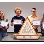Students inducted during the ceremony were (left to right): Kaity Spangler, Willow Krumwiede, Jerry Brockett, Adam Rosentreter, Rachel Recker, and Morgan Doggett. (Jordan Johns, not pictured.) (Courtesy of University of Illinois Agricultural Education Program)