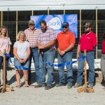 A ribbon cutting ceremony commenced the opening of the barn, and a pork chop supper was provided to attendees. (Courtesy of Illinois Pork Producers Association)