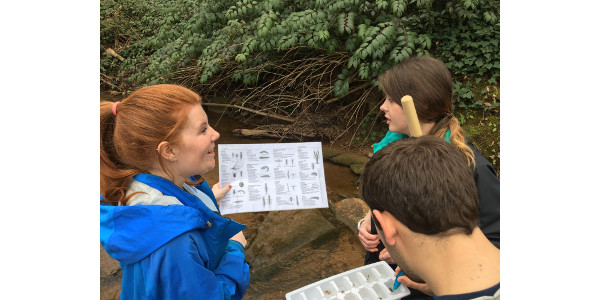 Pickens County Extension Agent Charly McConnell (left) leads a stream-monitoring exercise. (Courtesy of Clemson University)