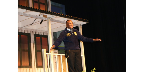 DeShawn Blanding, first national FFA officer from South Carolina since 1967, touts opportunities the organization offers its members. (Image Credit: Denise Attaway/Clemson University)