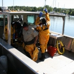 On-vessel drill training is held at Red Cliff Indian Reservation during one of the 2016 Drill Conductor Training courses. (Photo: Jim Thannum, Great Lakes Indian Fish and Wildlife Commission)