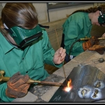 Future agriculture teachers and welding technicians test their brazing skills in the welding program at the Nebraska College of Technical Agriculture. (Mary Crawford photo)