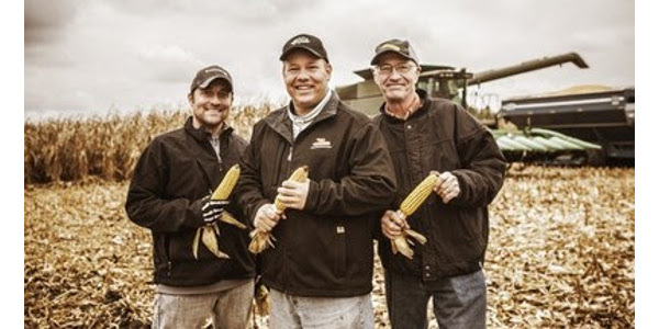 Great whiskey starts with great corn. Great corn definitely starts with Illinois farmers. Two local families including (left to right) Nick Nagele and Jamie and Jim Walter are crafting homegrown Illinois corn into some of the finest spirits available. A new 360 video tour shows the seed-to-spirit process from start to finish. (PRNewsfoto/Illinois Corn Marketing Board)