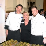 From left to right, Chef Klaus Krebs, CEP Outreach Events Coordinator Terri Heine and Chef Travis Barday pose with their dish that placed second overall during the Agriculture Day at the Capitol cook-off competition. (Courtesy of Colorado Egg Producers Association)