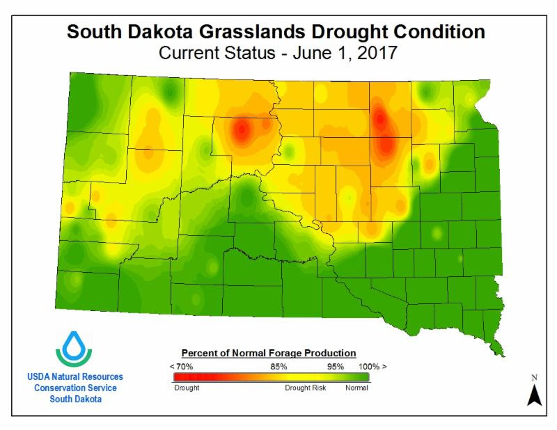 Source:  South Dakota Natural Resources Conservation Service Figure 1.  South Dakota NRCS Drought Condition Status Map with Percent of Normal Forage Production as of June 1, 2017.