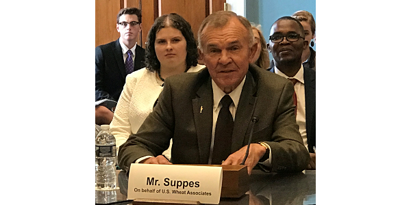 Ron Suppes, a Kansas wheat farmer and former U.S. Wheat Associates Chairman, testified in front of the House Agriculture Committee on the importance of food aid, discussing his recent trip to Tanzania where he viewed programs that used wheat. (Courtesy of Kansas Wheat)