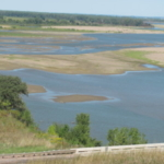 The Missouri River sand bars near the border of Nebraska, Iowa, and South Dakota. (Photo credit Ken Olson)