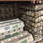 Grocery store in Brazil sells cartons of a dozen chicken eggs beside cartons of 30 quail eggs. (Photo credit: Isabela C. Santos)