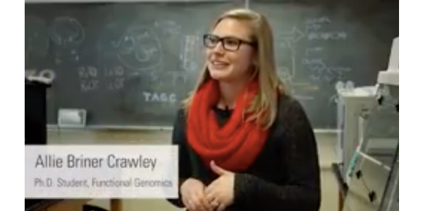 """""""I didn't realize when I started grad school that my work was going to have an impact … I had no idea I'd be able to do research that people would cite and use to spin off their own research. That's been really neat,"""" said Allie Briner Crawley. (Screenshot from video)"""